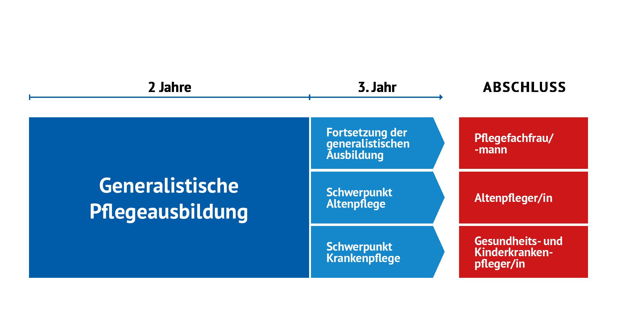 Grafik Aufbau der generalistischen Ausbildung