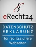 Siegel eRecht24 Datenschutzerklärung mir rechtssichere Websiten